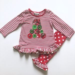 Girls Bonnie Jean Red Christmas Tree Outfit 2T